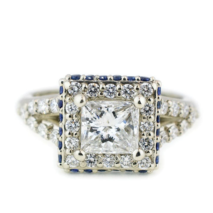 Princess Cut Diamond Halo Engagement Ring With Sapphires