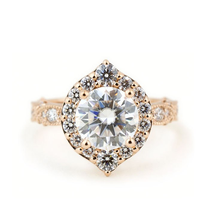 Moissanite Engagement Ring with Diamond Leaf Halo