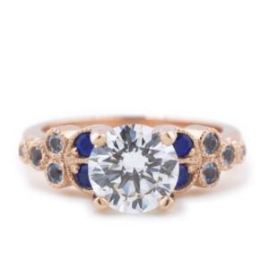 The Rachel, Custom Moissanite and Rose Gold Ring by Abby Sparks Jewelry