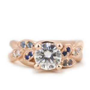 The Katie, Custom Moissanite and Rose Gold Engagement Ring by Abby Sparks Jewelry