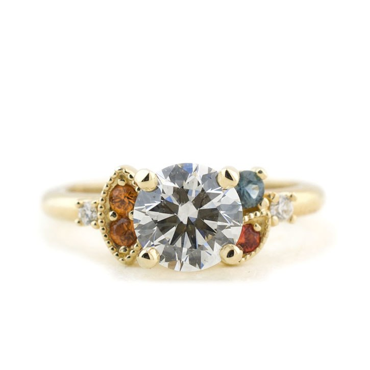 Asymmetrical Diamond Cluster Engagement Ring with Sapphire Accents
