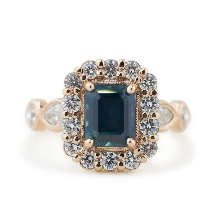 Ethical Sapphire Halo Engagement Ring