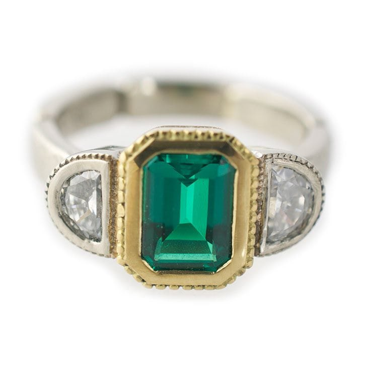 Vintage Inspired Mixed Metal Emerald Ring