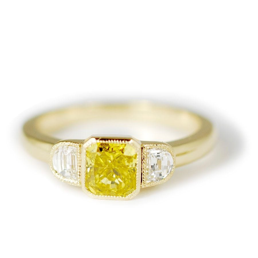 Yellow Diamond Ring With Half Moon Accents