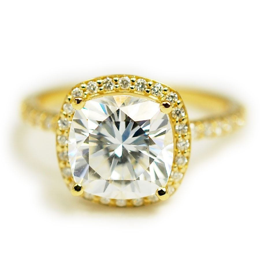 Lab Created Moissanite Engagement Ring with Halo