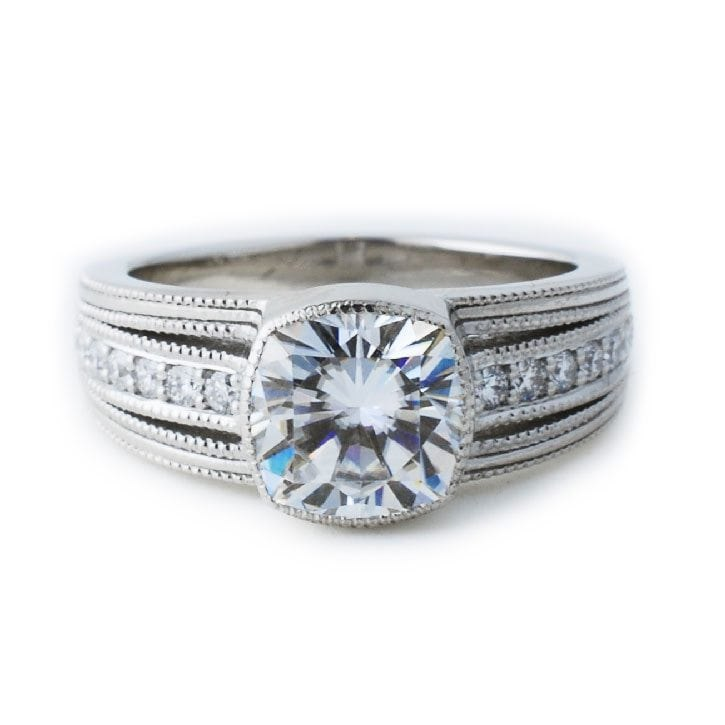 Platinum Engagement Ring with Detailed Band