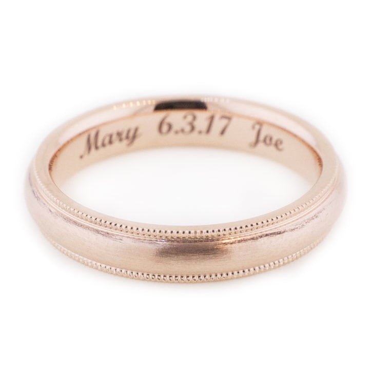 Men's Rose Gold Wedding Band With Milgrain Accents