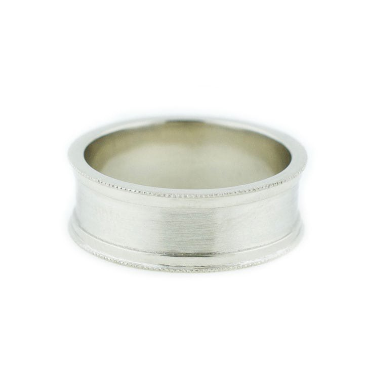 Concave Brushed White Gold Wedding Band