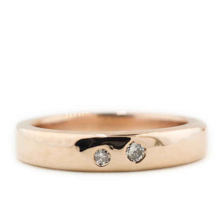 Hammered Rose Gold and Diamond Wedding Band