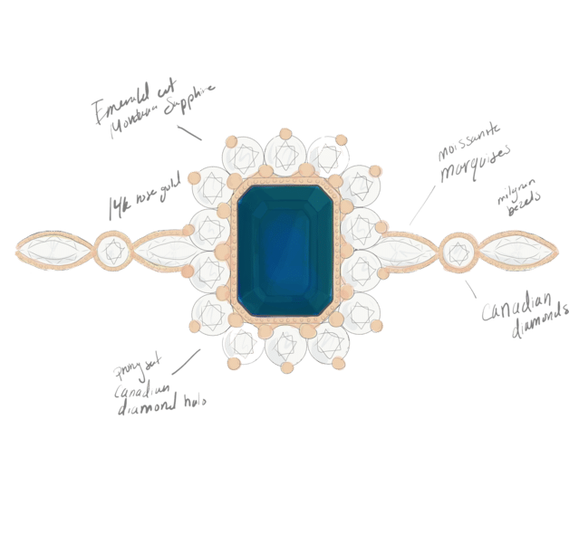 full-custom-engagement-ring-jewelry-sketch-sapphire-rose-gold