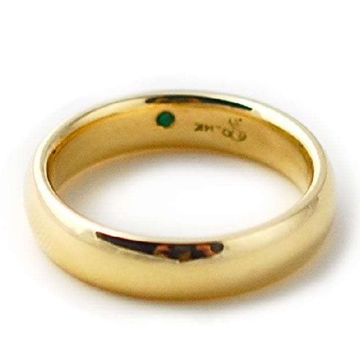 Classic Gold Band With Hidden Emerald Accent