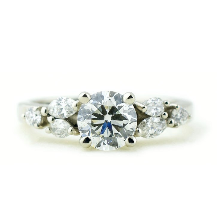 Diamond Cluster Engagement Ring in White Gold