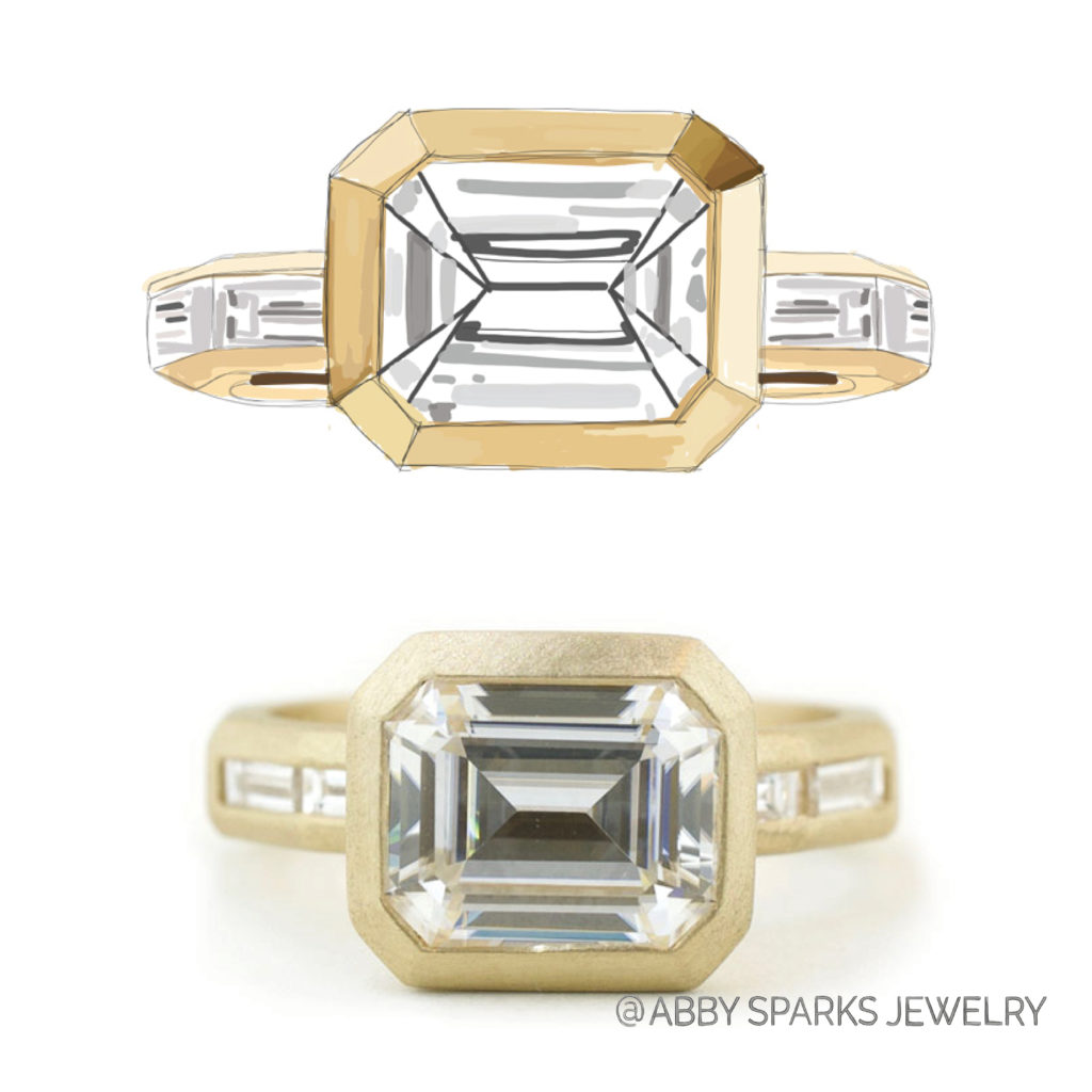 James yellow gold moissanite emerald cut men's engagement ring, designed by Abby Sparks Jewelry.