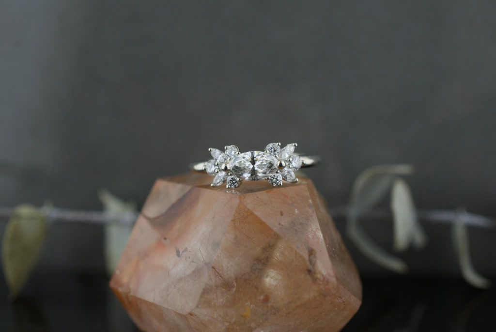 The Melissa custom diamond marquise cluster ring in white gold, handcrafted by Abby Sparks Jewelry in Denver, CO.