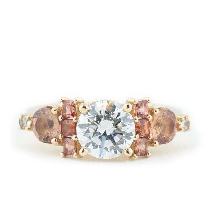 Pink Cluster Engagement Ring