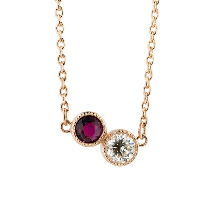 Dainty Ruby and Diamond Necklace
