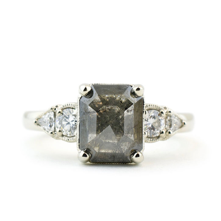 Rough Diamond Engagement Ring with Diamond Accents