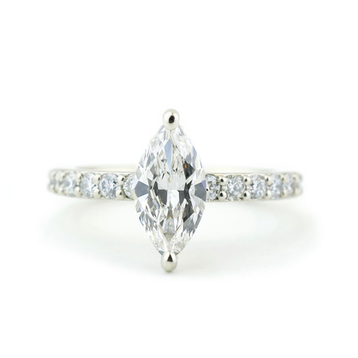 Lab Grown Marquise Diamond Engagement Ring