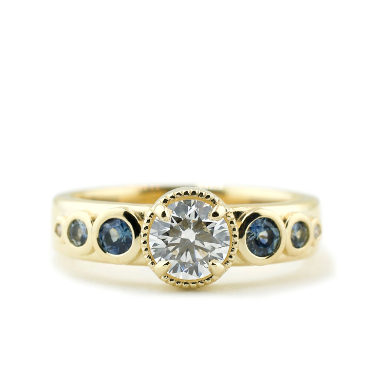 Lab Created Diamond Ring with Montana Sapphire Accents