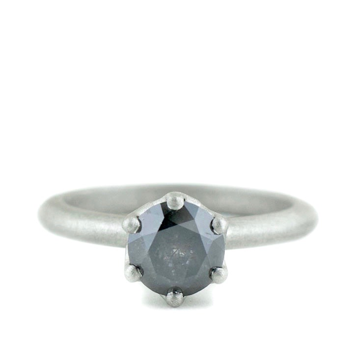 Gray Diamond Engagement Ring with Hidden Detail