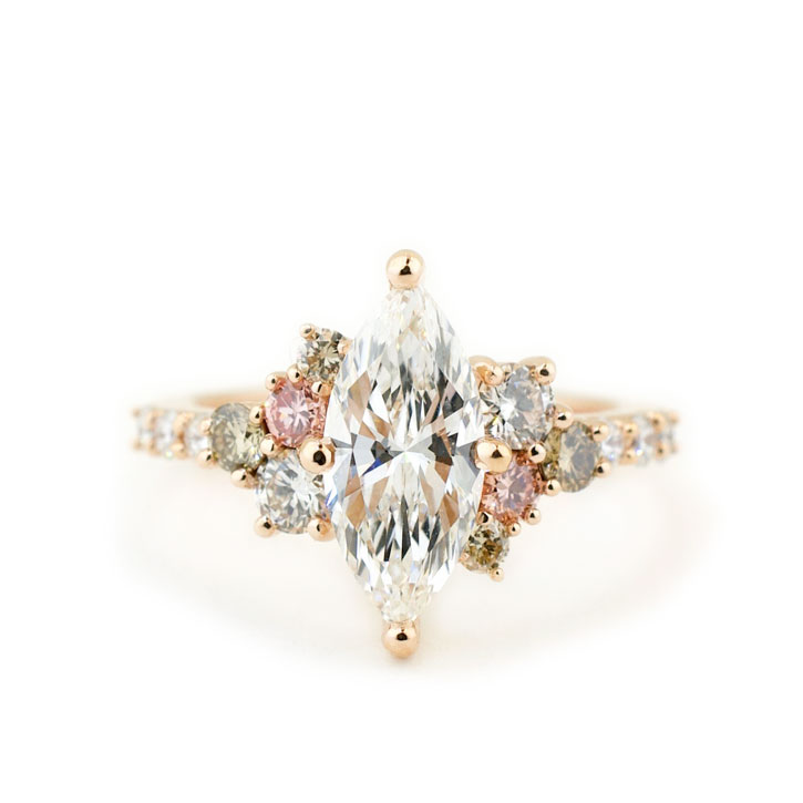 Marquise Diamond Cluster Engagement Ring