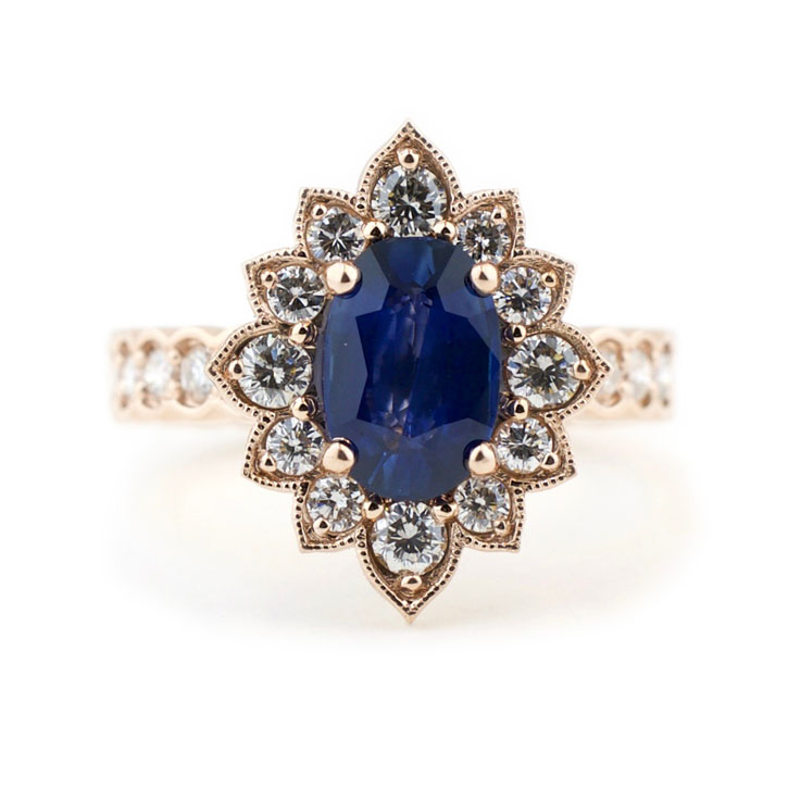 Vintage Inspired Sapphire Engagement Ring with Diamond Halo