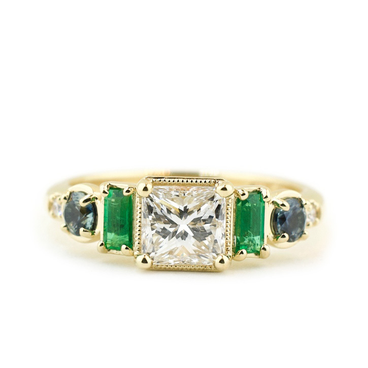 Princess Cut Diamond Ring with Gemstone Accents