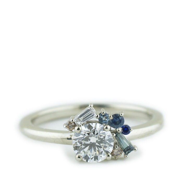 Diamond Engagement Ring with Sapphire Cluster