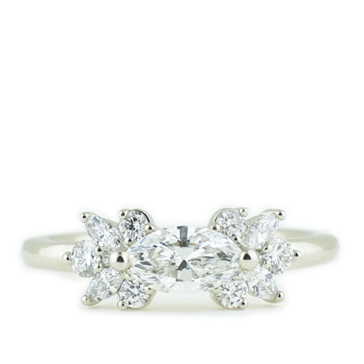 Marquise Diamond Ring with Floral Clusters