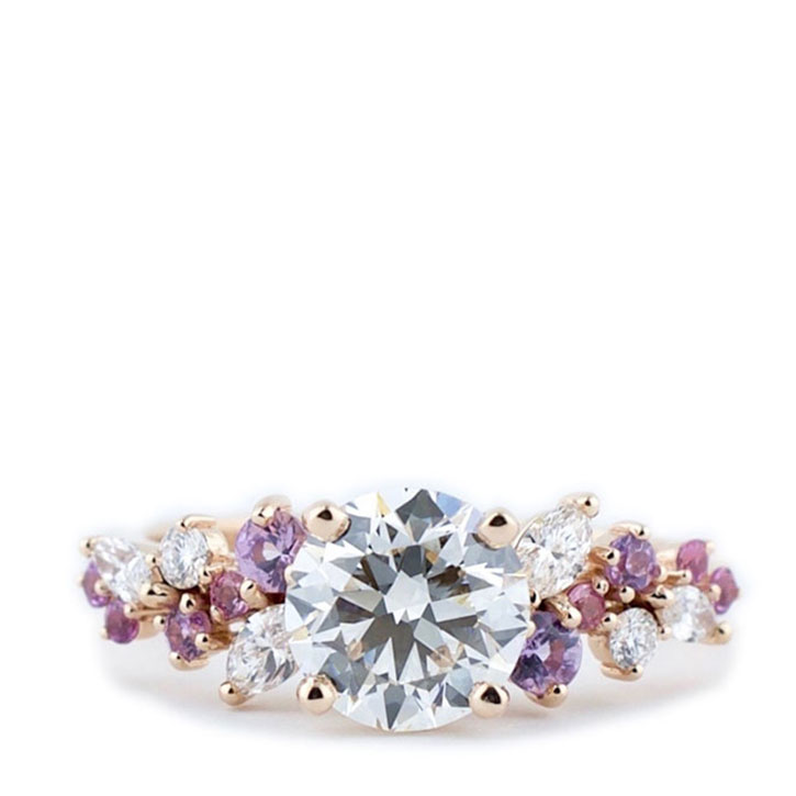 Diamond and Pink Sapphire Cluster Ring