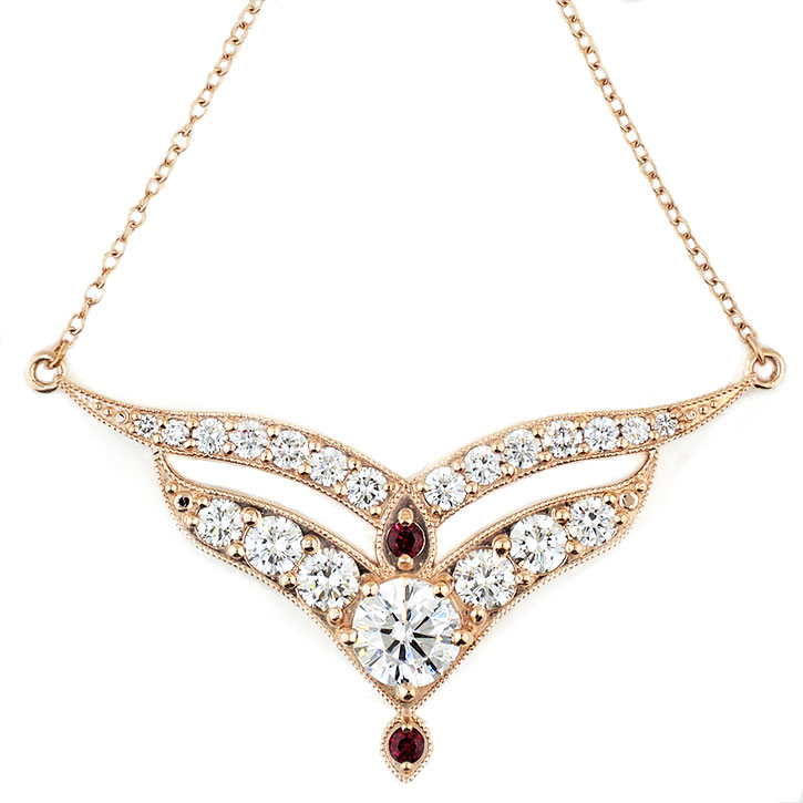 Diamond and Ruby Fire Pendant Necklace